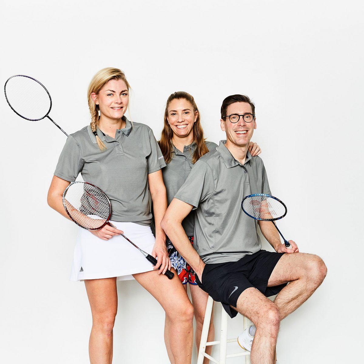3 badmintonspelare